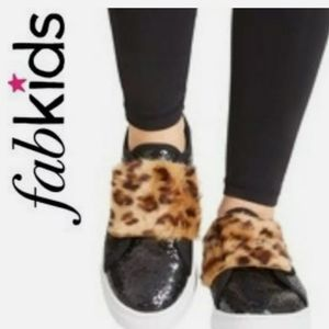 Fabkids sparkle faux fur animal print sneakers